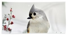 Tufted Titmouse Square Hand Towel