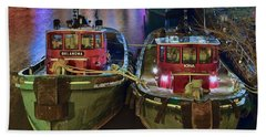 Hand Towel featuring the photograph Tug Boats At Night by Frozen in Time Fine Art Photography
