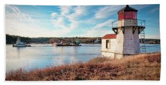Tugboat, Squirrel Point Lighthouse Bath Towel