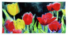 Hand Towel featuring the painting Tulip Bed At Dark by Kathy Braud