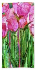 Hand Towel featuring the mixed media Tulip Bloomies 1 - Pink by Carol Cavalaris