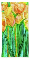 Hand Towel featuring the mixed media Tulip Bloomies 1 - Yellow by Carol Cavalaris