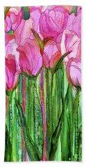 Bath Towel featuring the mixed media Tulip Bloomies 2 - Pink by Carol Cavalaris
