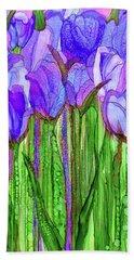 Hand Towel featuring the mixed media Tulip Bloomies 2 - Purple by Carol Cavalaris