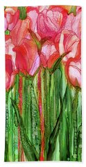 Hand Towel featuring the mixed media Tulip Bloomies 2 - Red by Carol Cavalaris
