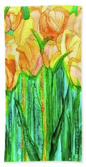 Hand Towel featuring the mixed media Tulip Bloomies 2 - Yellow by Carol Cavalaris