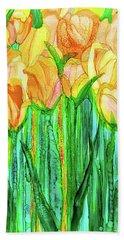Bath Towel featuring the mixed media Tulip Bloomies 2 - Yellow by Carol Cavalaris