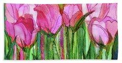 Bath Towel featuring the mixed media Tulip Bloomies 3 - Pink by Carol Cavalaris