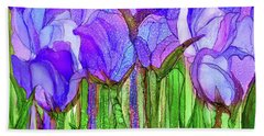 Hand Towel featuring the mixed media Tulip Bloomies 3 - Purple by Carol Cavalaris