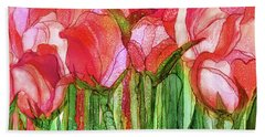 Hand Towel featuring the mixed media Tulip Bloomies 3 - Red by Carol Cavalaris