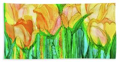Hand Towel featuring the mixed media Tulip Bloomies 3 - Yellow by Carol Cavalaris