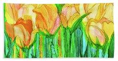 Bath Towel featuring the mixed media Tulip Bloomies 3 - Yellow by Carol Cavalaris