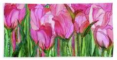 Hand Towel featuring the mixed media Tulip Bloomies 4 - Pink by Carol Cavalaris