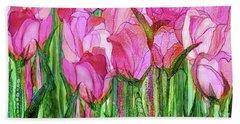 Bath Towel featuring the mixed media Tulip Bloomies 4 - Pink by Carol Cavalaris