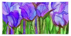 Bath Towel featuring the mixed media Tulip Bloomies 4 - Purple by Carol Cavalaris