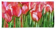 Bath Towel featuring the mixed media Tulip Bloomies 4 - Red by Carol Cavalaris
