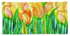 Hand Towel featuring the mixed media Tulip Bloomies 4 - Yellow by Carol Cavalaris
