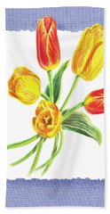 Tulip Bouquet On Baby Blue Hand Towel