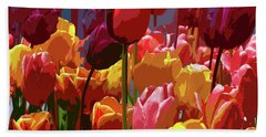 Tulip Confusion Bath Towel by Sharon Talson