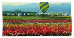 Tulip Field And Hot Air Balloon Hand Towel