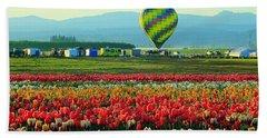 Tulip Field And Hot Air Balloon Hand Towel