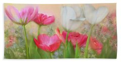 Hand Towel featuring the painting Tulip Garden by Bonnie Willis