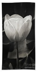 Tulip In Black And White Bath Towel