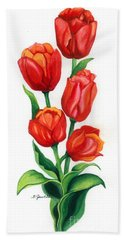 Bath Towel featuring the painting Tulip Time by Barbara Jewell