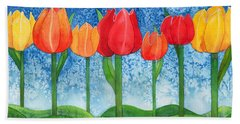 Hand Towel featuring the painting Tulip Trees Watercolor by Kristen Fox