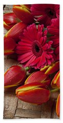 Tulips And Red Daisies  Hand Towel