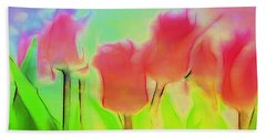 Tulips In Abstract 2 Bath Towel by Cathy Anderson