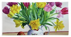 Tulips In Jug With Apples Hand Towel