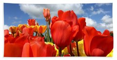 Tulips In The Sky Bath Towel