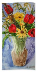 Tulips In Vase Hand Towel by Marna Edwards Flavell