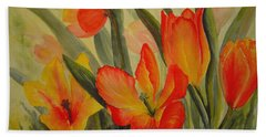 Tulips Bath Towel by Joanne Smoley