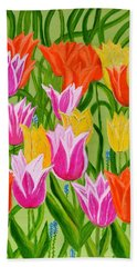 Bath Towel featuring the painting Tulips by Magdalena Frohnsdorff