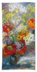 Hand Towel featuring the painting Tulips, Narcissus And Forsythia by Ryn Shell