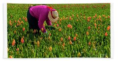Tulips Picker Bath Towel