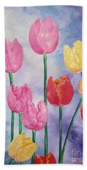 Tulips - Red-yellow-pink Bath Towel by Sigrid Tune
