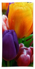 Hand Towel featuring the photograph Tulips Smiling by Marie Hicks