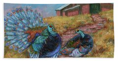 Bath Towel featuring the painting Turkey Tom's Tango by Xueling Zou