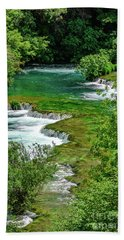 Turqouise Waterfalls Of Skradinski Buk At Krka National Park In Croatia Hand Towel