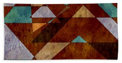 Turquoise And Bronze Triangle Design With Copper Bath Towel
