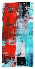 Hand Towel featuring the painting Turquoise And Red Abstract Painting by Christina Rollo