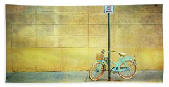 Turquoise Bicycle Hand Towel by Craig J Satterlee