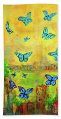 Turquoise Butterflies Bath Towel by Haleh Mahbod
