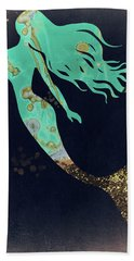 Turquoise Mermaid Hand Towel by Mindy Sommers