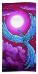 Turquoise Moon Phoenix Hand Towel by Laura Iverson
