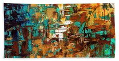 Hand Towel featuring the painting Turquoise Scent by Carmen Guedez