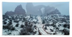 Turret Arch In The Fog Hand Towel